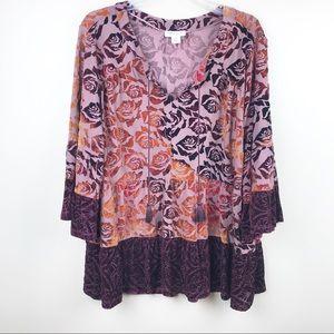 style & co women's 3X velvet floral tassel top